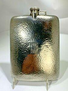 ART NOUVEAU LARGE STERLING SILVER HAND HAMMERED  J.E. BLAKE CO 7/8 PINT FLASK