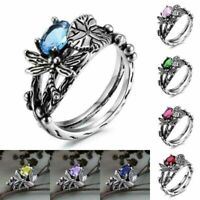 925 Silver Topaz Dragonfly Ring Wedding Engagement Jewelry Wholesale