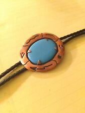 Solid Copper Bolo Tie Turquoise colored Accent Fashionable Southwest Design