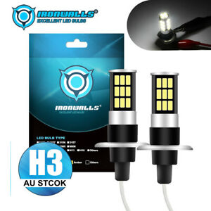 2x IRONWALLS H3 LED 80W HEADLIGHT FOG DRIVING LIGHT BULBS CAR LAMP GLOBES 6000K