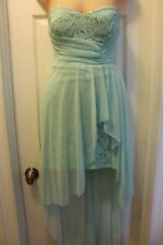 Women Mint Green High Low Strapless Sequins w/ Lace Prom Party Cocktail  Dress 1