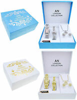 Ladies Watch Necklace Bracelet Earrings Gift Set Pendant Silver Womens -AN6887