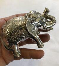 Lucky Good Karma Elephant Statue Figure 100% Grade A Bronze Silver Patina