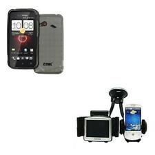 Smoke TPU Case Cover Skin+GPS&Phone Mount Holder for HTC DROID Incredible 4G LTE