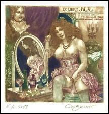 David Bekker 2004 Exlibris C4 Strauss Erotic Nude Woman Mirror Flower 830