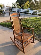 19th CENTURY AMERICAN OAK TALL BACK ROCKING CHAIR W/ARMS AND CANE SEAT/BACK