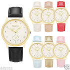 Casual Women Men Gold Quartz Analog Leather Band Stainless Steel Wrist Watches