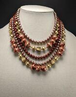 Vintage Multi Strand Lucite & Glass Bead Necklace Beautiful Colors! Japan