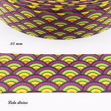 Ruban gros grain Eventail orange jaune vert violet & noir de 25 mm vendu au m