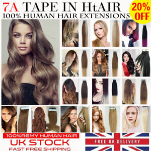 """Top Quality 8A* 14''-24"""" Tape-In Russian Remy Human Hair Extensions Sell 1st UK"""