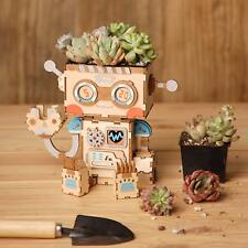 Robotime Diy Flower Pots for Garden Succulent Planter Wooden Robot Home Decor
