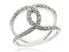 Fashion 925 Silver Ring Size 5-12 New White Cubic Zirconia Twist X Criss Cross