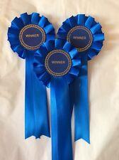 3 X Beautiful Blue Winner Rosettes
