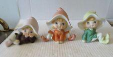 Vintage Homco Pixie Elf Fairy Figurines Set Of 3 Shelf Sitters