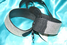 Fender Deluxe Black Tweed Guitar/Bass Strap, Leather Backing & Ends, 0990610006