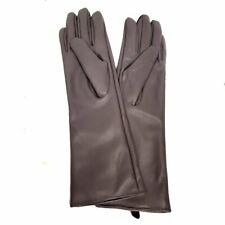 Womens Ladies Long Gloves Faux Leather Look - Grey/Purple - Size SMALL - Party