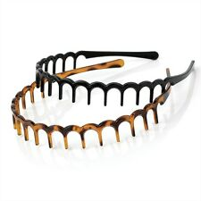 BLACK & BROWN SET 2cm TOOTHED ALICE BAND HEAD HAIR HEADBAND SHARKS TOOTH ZIG ZAG