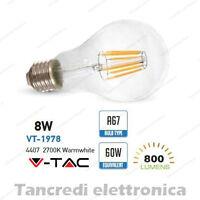 Lampadina led V-TAC 8W = 60W E27 bianco caldo 2700K VT-1978 A67 filamento bulbo