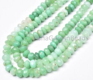 """16""""1 Strand Natural Chrysoprase Shaded Green Faceted Rondelle Gemstone Beads,6mm"""