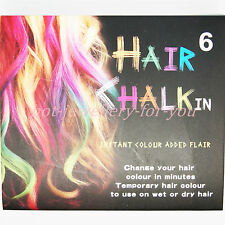 6 Hair Chalk Set Temporary Multi Colour Dye Party Fun Pastel Non Toxic Box