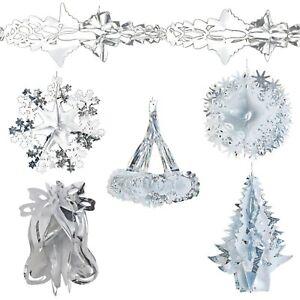 Christmas Ceiling Decorations - Foil - 2 Tone - Silver / White - Choose Design