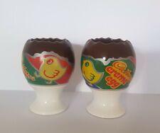 Pair Vintage CADBURY's creme Egg Ceramic Egg Cups x2 Cup