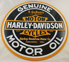 HARLEY DAVIDSON MOTOR OIL 5 GALLONS MILWAUKEE WI WISCONSIN HIGHLY EMBOSSED SIGN