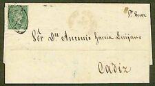 Philippines 1856 cover/1r green/MANILA ISs FILIPA.
