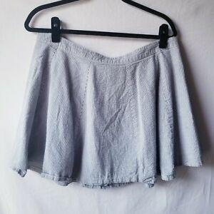 Victoria's Secret Casual Pin Striped Mini Flare Skirt Womens SIze 14 Gray Blue