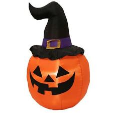 5 ft. Inflatable Lighted Pumpkin with Witch Hat Halloween Airblown Yard Decor