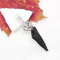 Turmalin Druse schwarz Herkimer Diamant Design Anhänger 925 Sterling Silber neu