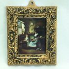 Vintage Fancy Gold Framed Small Classic Print Woman Child Cottage Kitchen