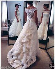 Vintage Luxury Ivory Lace Wedding Dress Bridal Gown Custom all Size 4-26++++