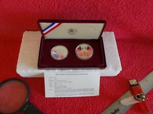 L. A. 1984 OLYMPIC TWO  UNCIRCULATED SILVER COINS  PROOF  COMMEMORATIVE SET, ORI
