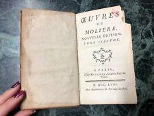 ANTICO LIBRO FRANCESE OEUVRES DE MOLIERE TOME SIXIEME PARIS 1758 MOUCHET