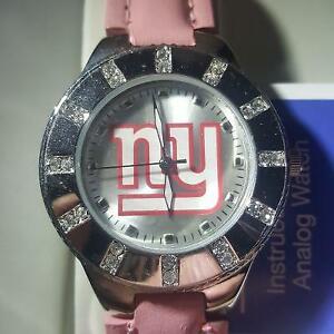 New York Giants Womens NFL Watch w/ Pink Leather Band w/ Rhinestones NEW