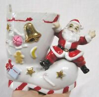 Vintage Christmas Santa on Boot Planter Embossed Gifts Bell Stars Plus 1960s