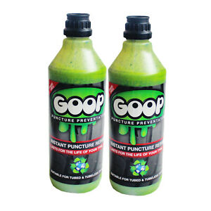 Goop Tyre Puncture Sealant Puncture Preventer / 2 X 500ml / Made in UK