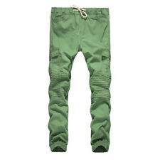 Casual Solid Drawstring Waist Pocket Pants For Men - Army Green