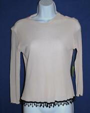 PETIT POIS Ladies Peach Colored Double Layer Long Sleeve Top, Black Beads, Large