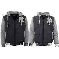Men's Thick NY New York Yankees Zip Up Hoodies Bomber Jacket Padded Quilted Coat