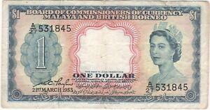 Malaya & British Borneo 1 Dollar 1953 P-1