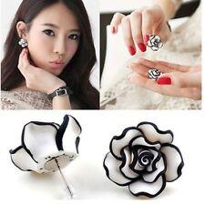 Fashion Beauty Women Girls Black & White Rose Flower Ear Stud Earrings