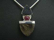 Rutilated Quartz, Ruby & Agate Drusy. Pendant. Sterling
