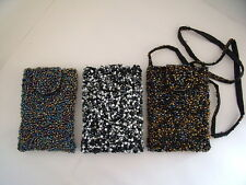 New Gorgeous Beaded Small Evening Shoulder Bag in Black/Silver or Gold/Blue