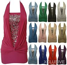 SEQUINS HALTER NECK CLUB WEAR GOING OUT DRESS TOP 8-16