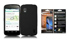 Screen Protector + Blk Silicone Case for LG Optimus G Nexus Google Nexus 4 E960