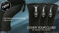 NEW THICK NEOPRENE BLACK HYBRID COMPLETE FULL SET 2 3 4 GOLF CLUB HEAD COVERS NR