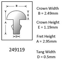 Sintoms 18% Nickel Silver Fret Wire 2.5mm. Set of 6 straight pieces