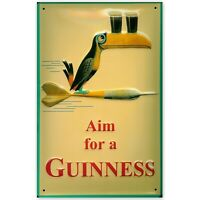 AIM FOR A GUINNESS, EMBOSSED(3D) METAL ADVERTISING SIGN 30x20cm PUB/ DARTS